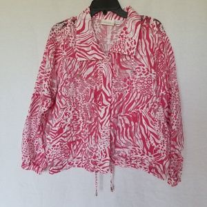 Chico's white pink sheer zip up windbreaker size 2